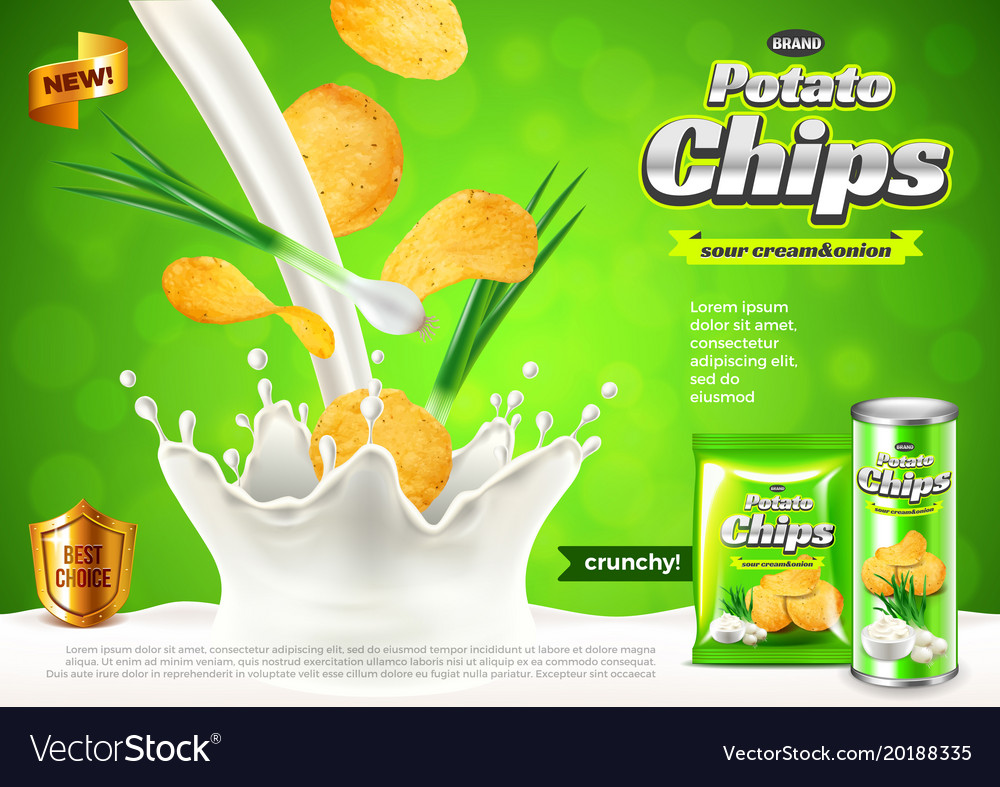 Chips ads onions in pouring sour cream background