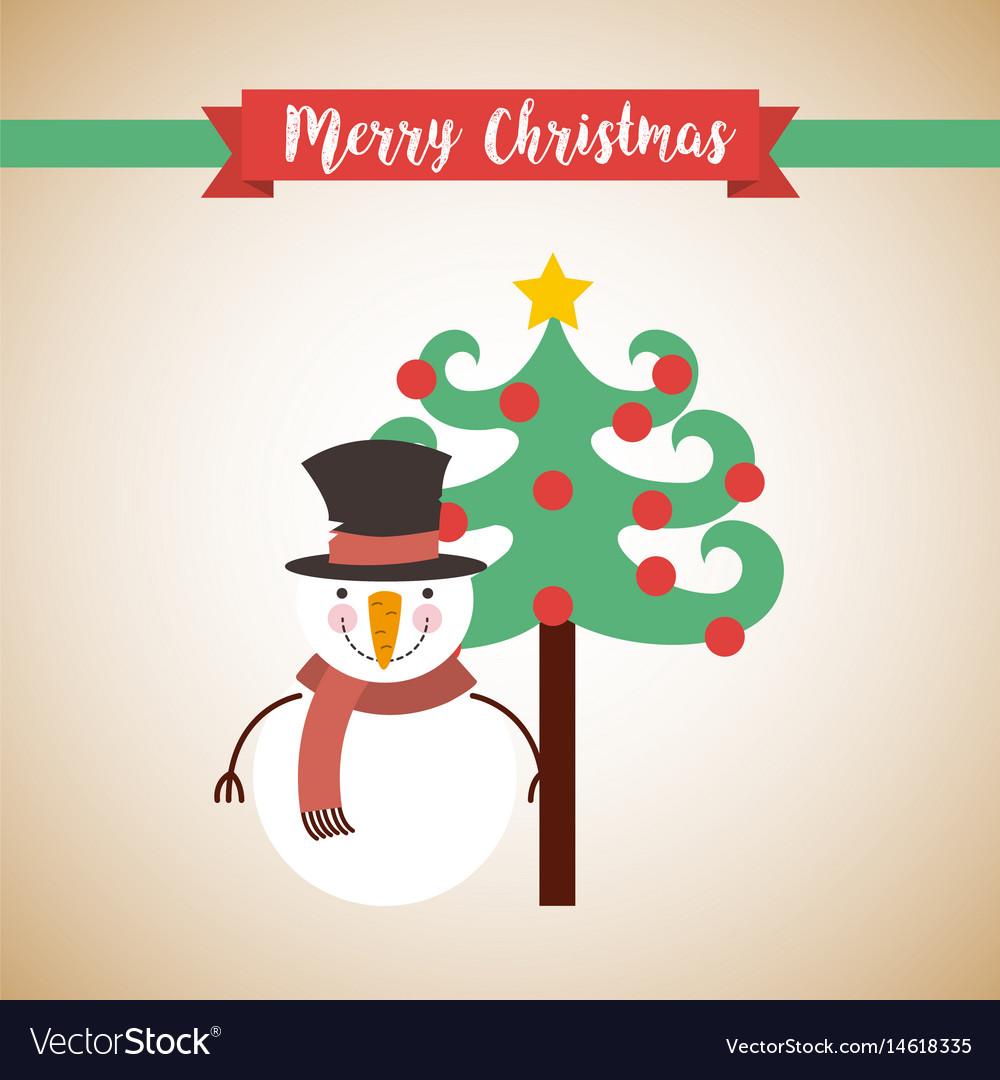 Cute snowman christmas character vector image