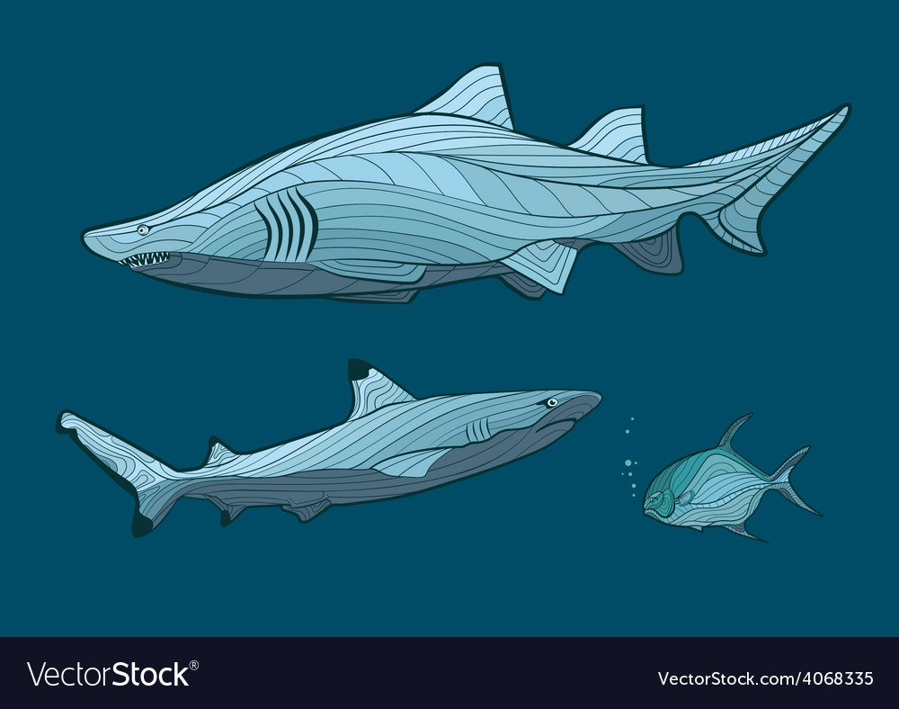 Decorative sharks in the sea with fish