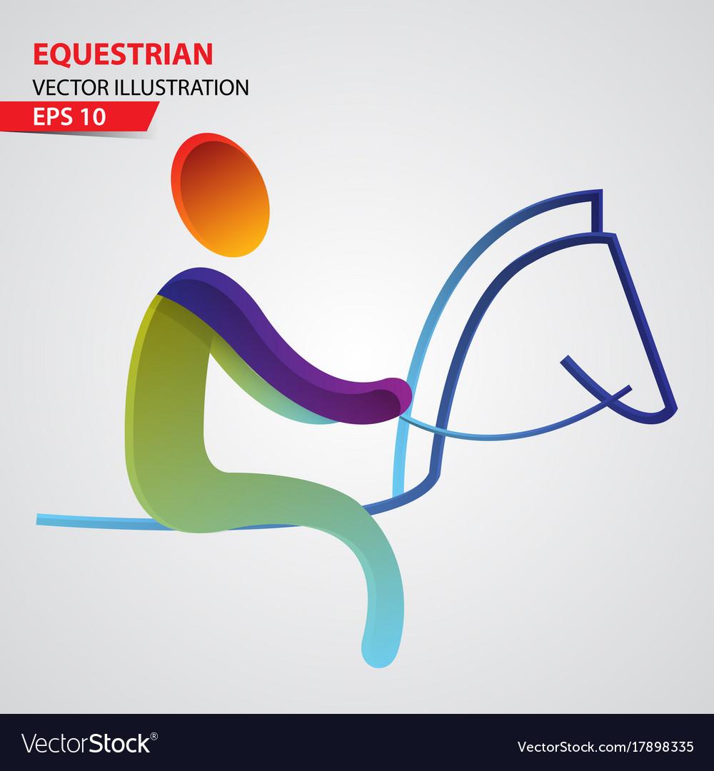 Equestrian color sport icon