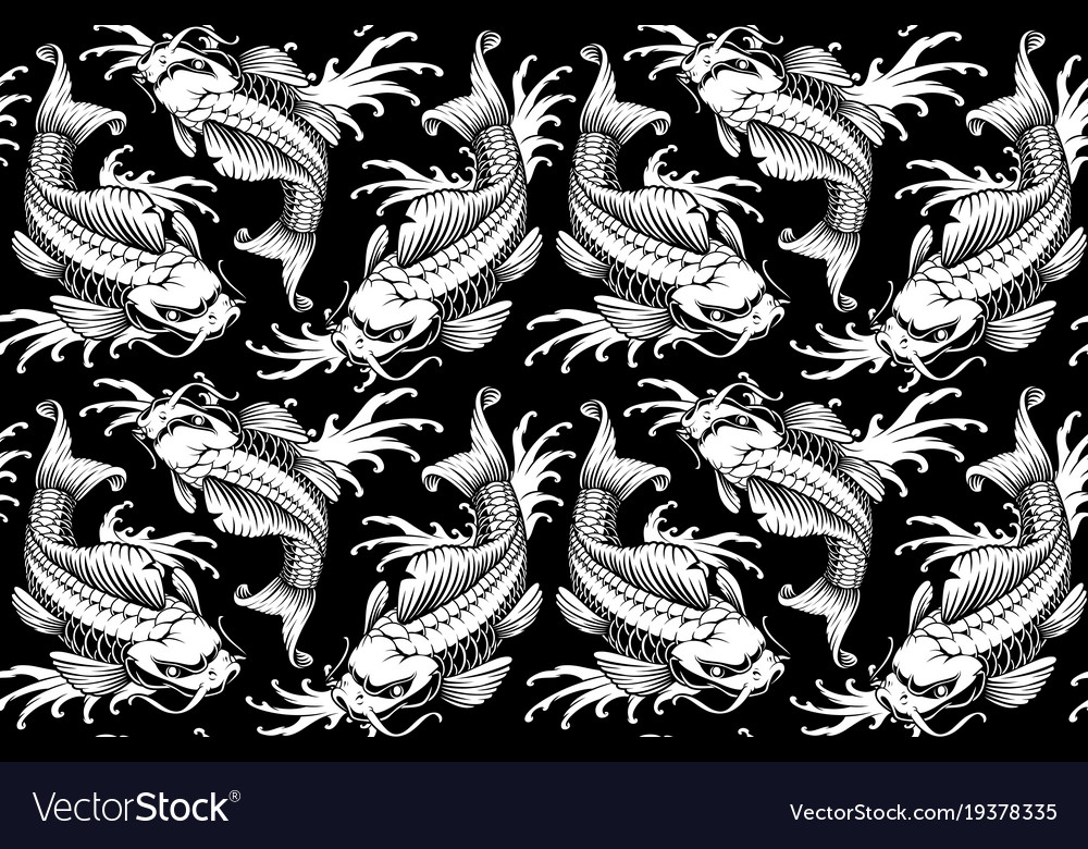 Koi carp seamless pattern version for white