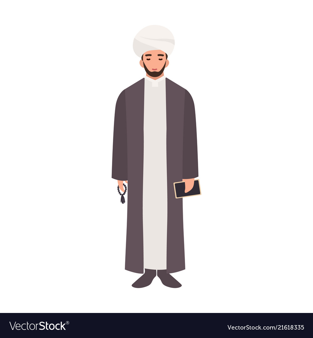 Mullah wearing turban and traditional clothes
