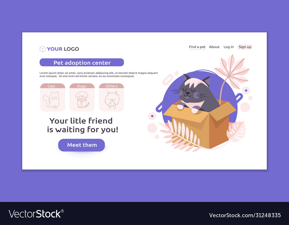 Perfect Banner For Your Website Pet Adoption Vector Image