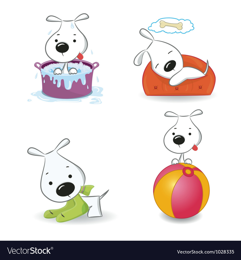 Puppy dog set vector image