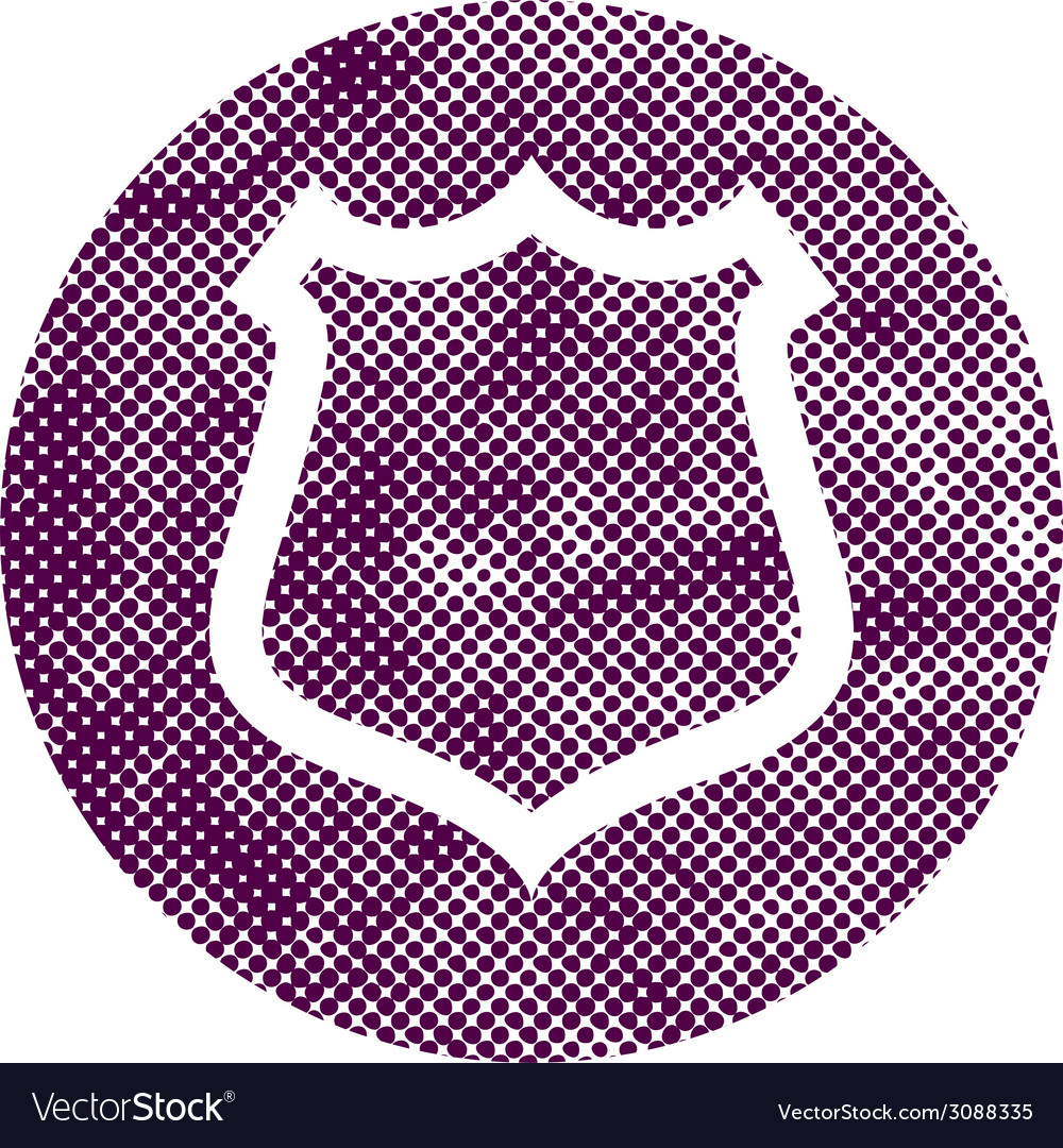 Safety shield icon with pixel print halftone dots vector image