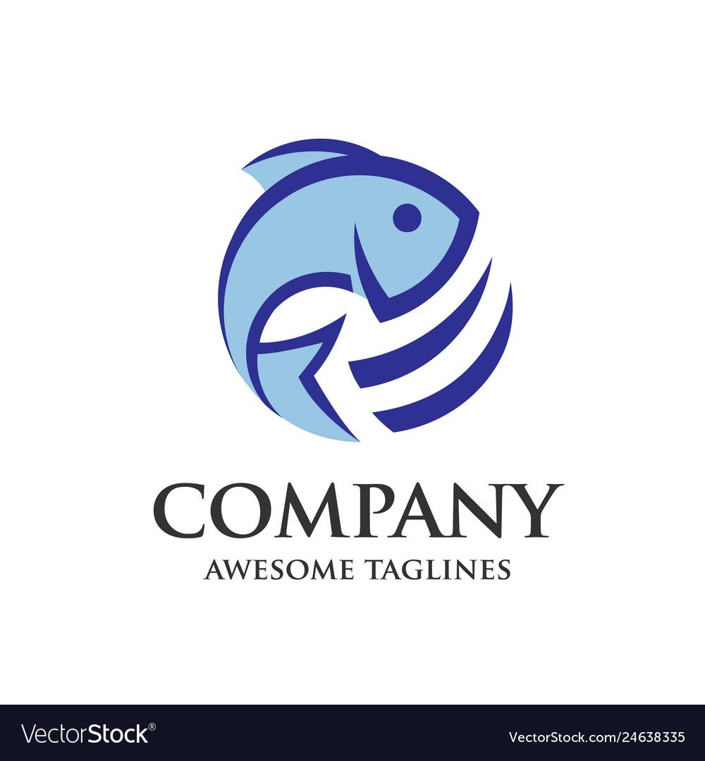 Sea fish abstract circle logo