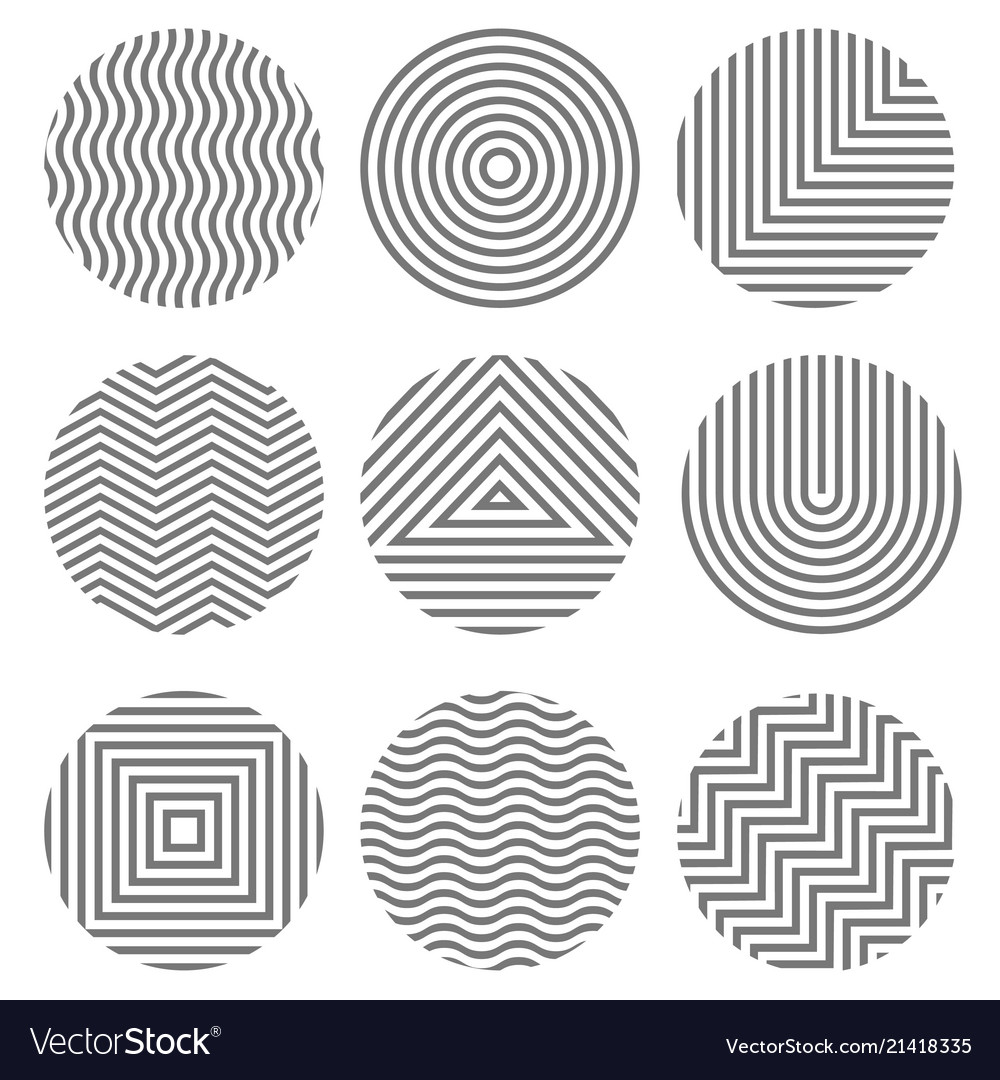 Set of monochrome geometric textures in circles
