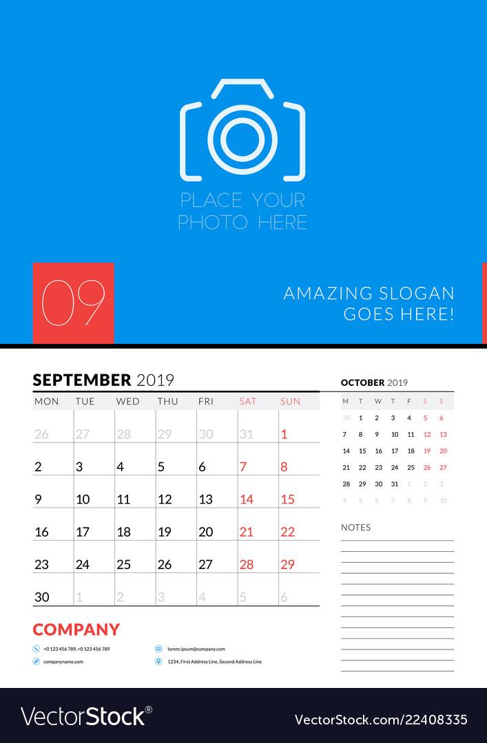 Calendar Planner September 2019.Wall Calendar Planner Template For September 2019