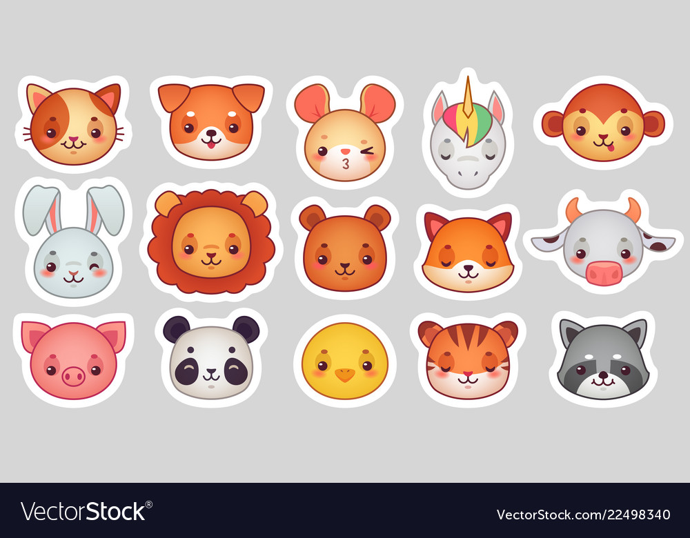 Animals face stickers cute animal faces kawaii