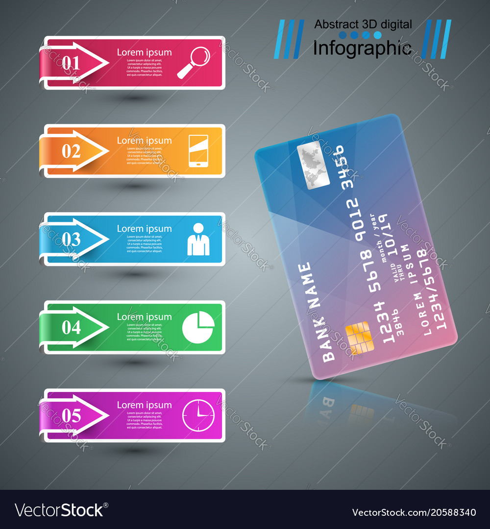 Bank card icon business infographic