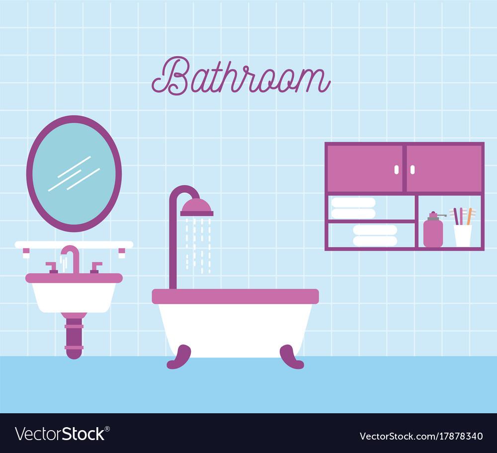 Bathroom bath shower sink and mirror cabinet Vector Image