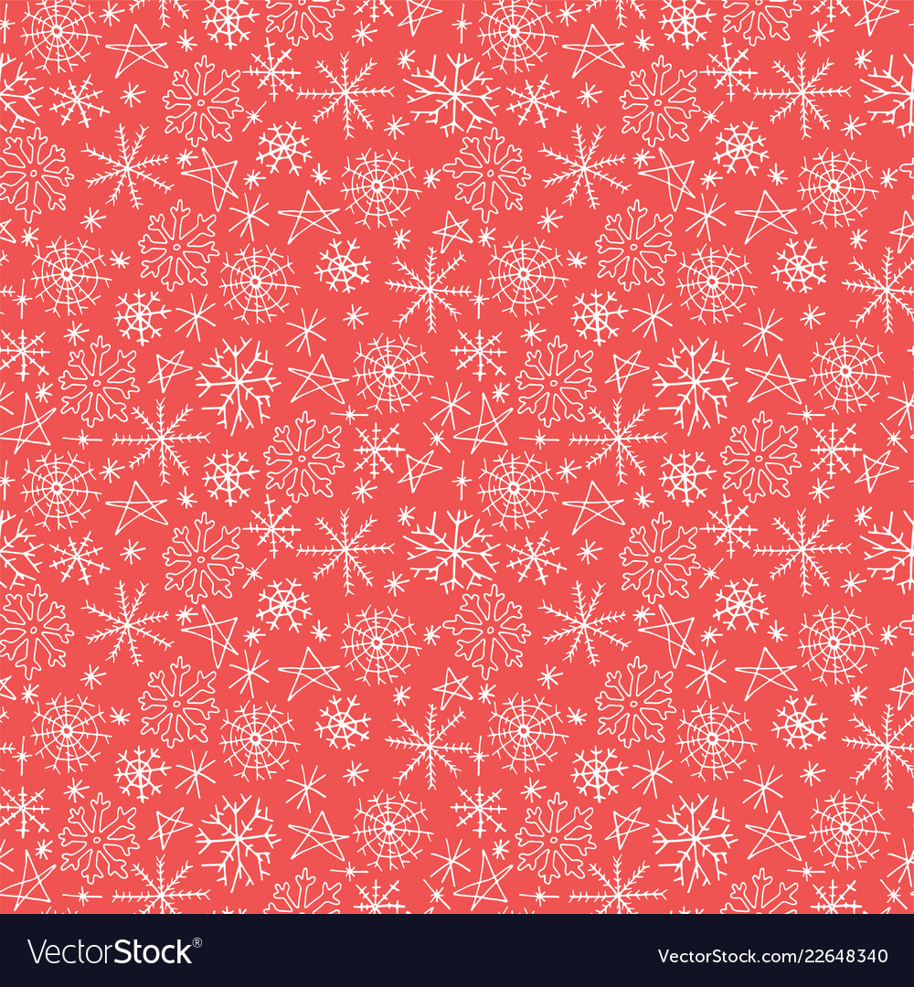 Christmas seamless pattern with snowflakes hand