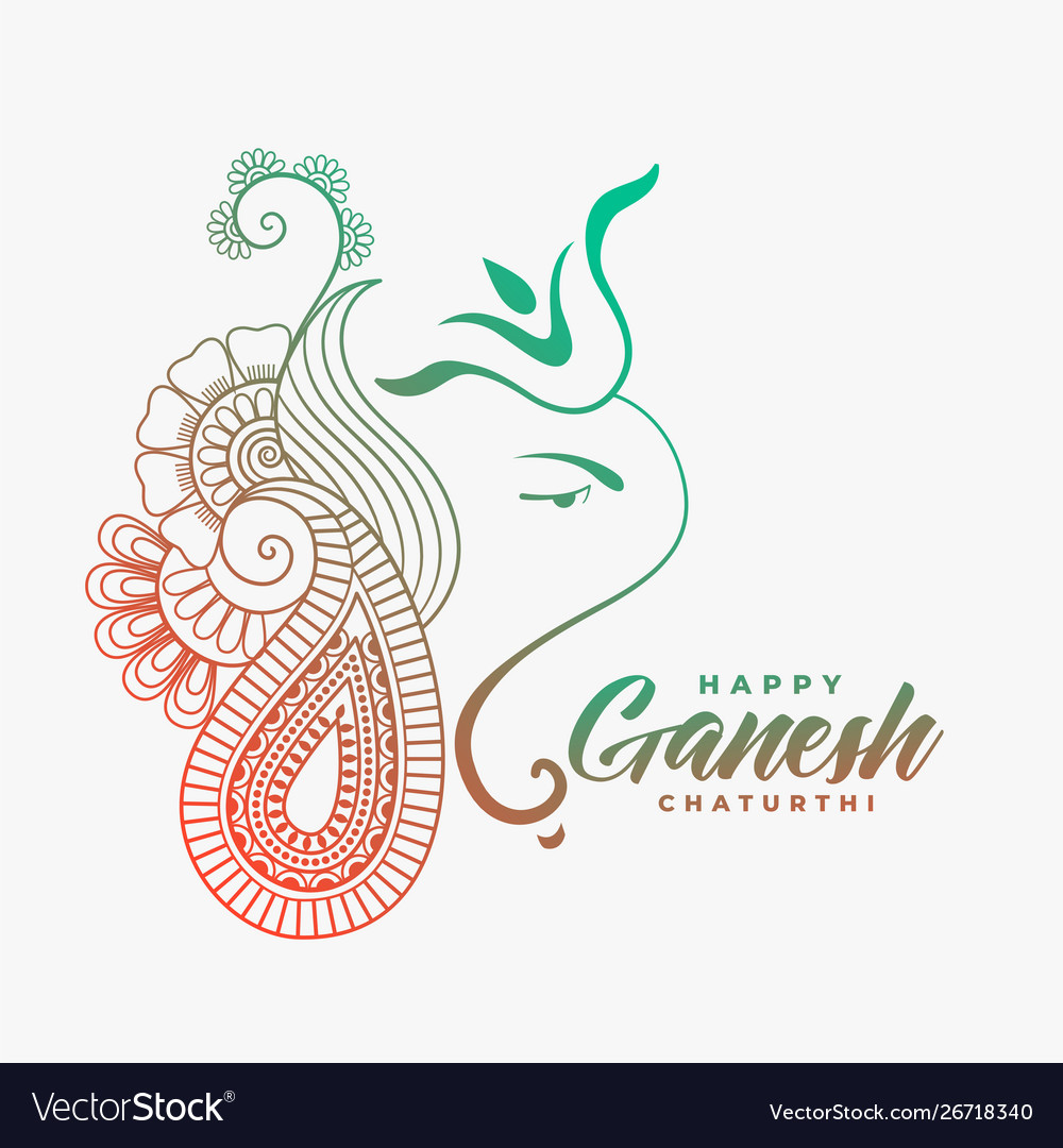 Creative ganesha ji design for happy ganesh