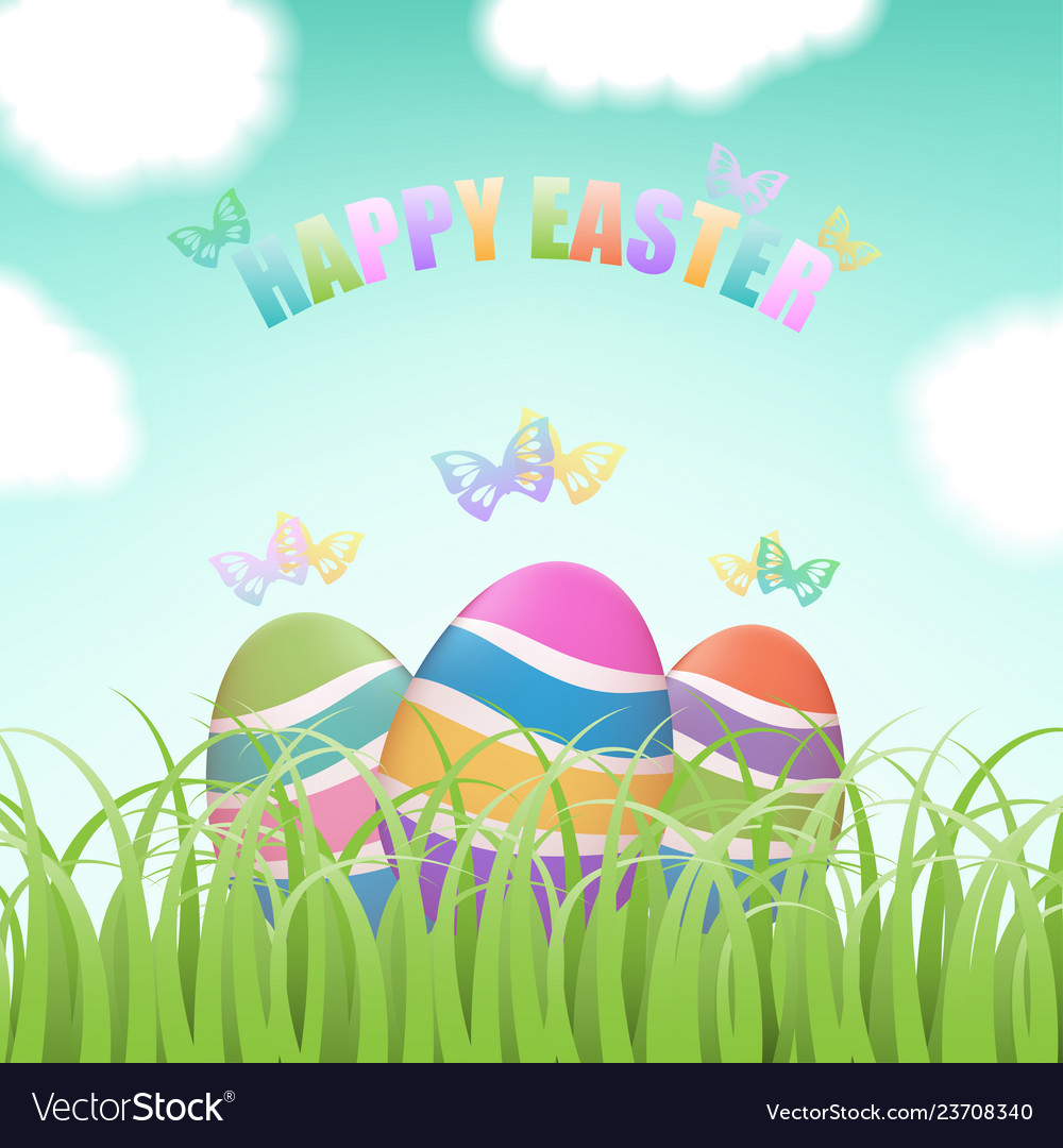 Easter eggs behind grass