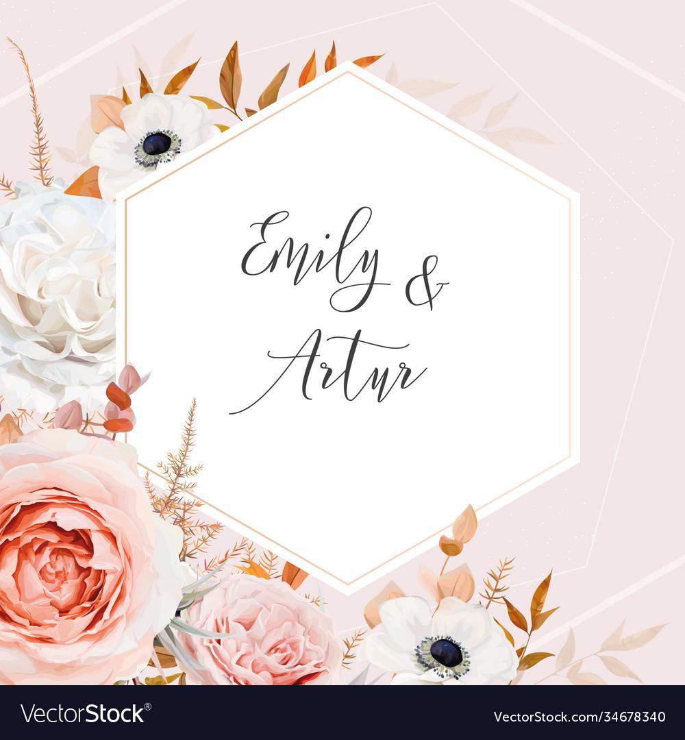 Elegant floral fall stylish wedding invite
