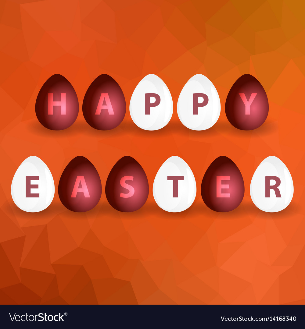 Happy easter from red and white egg on abstract