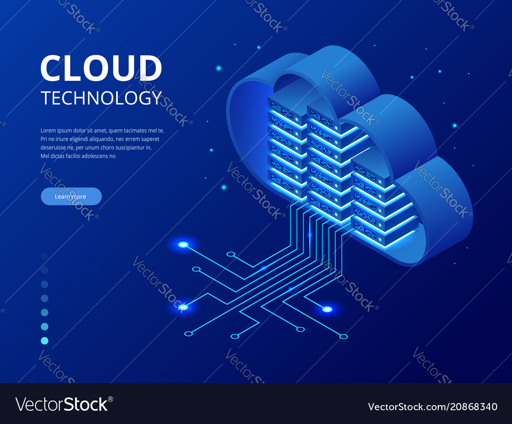 Isometric modern cloud technology and networking