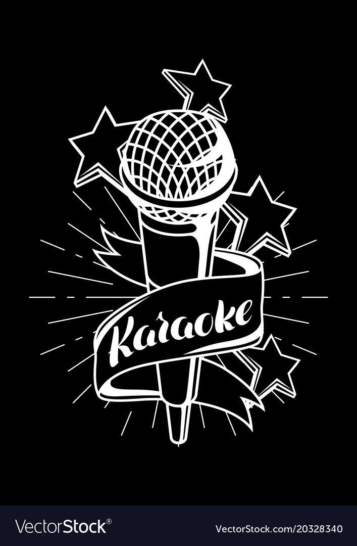 Karaoke Party Label Music Event Background Vector Image