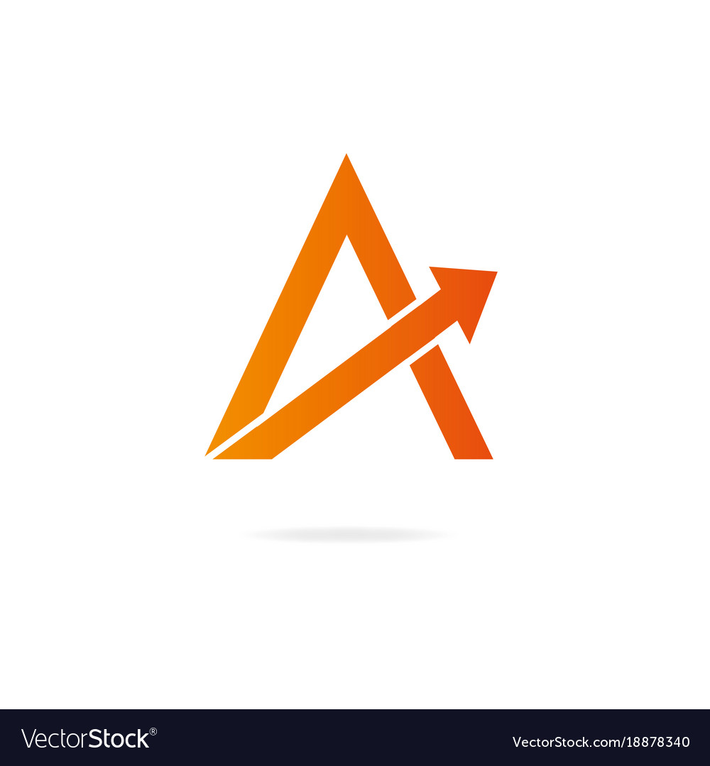 letter a logo design template elements arrow vector image