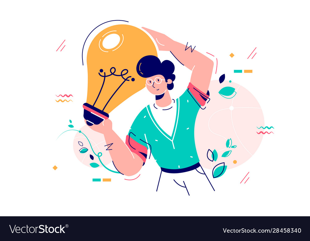 Man holding idea lamp bulb