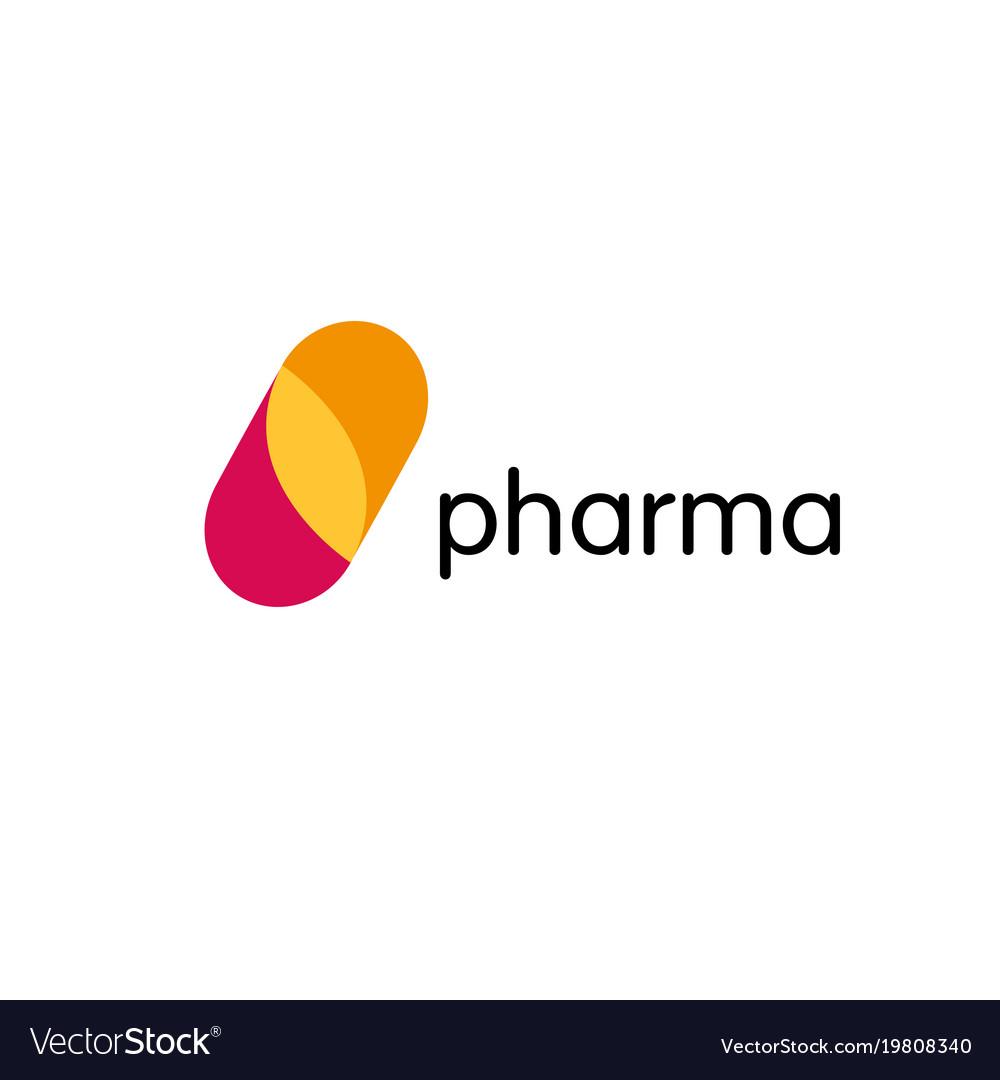 Pharmacy logo medicine capsule tablet design vector image