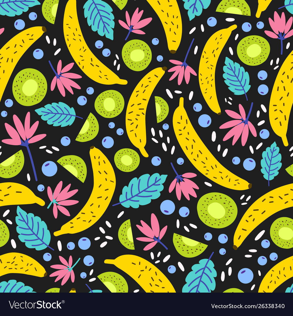 Seamless pattern with exotic blooming flowers and