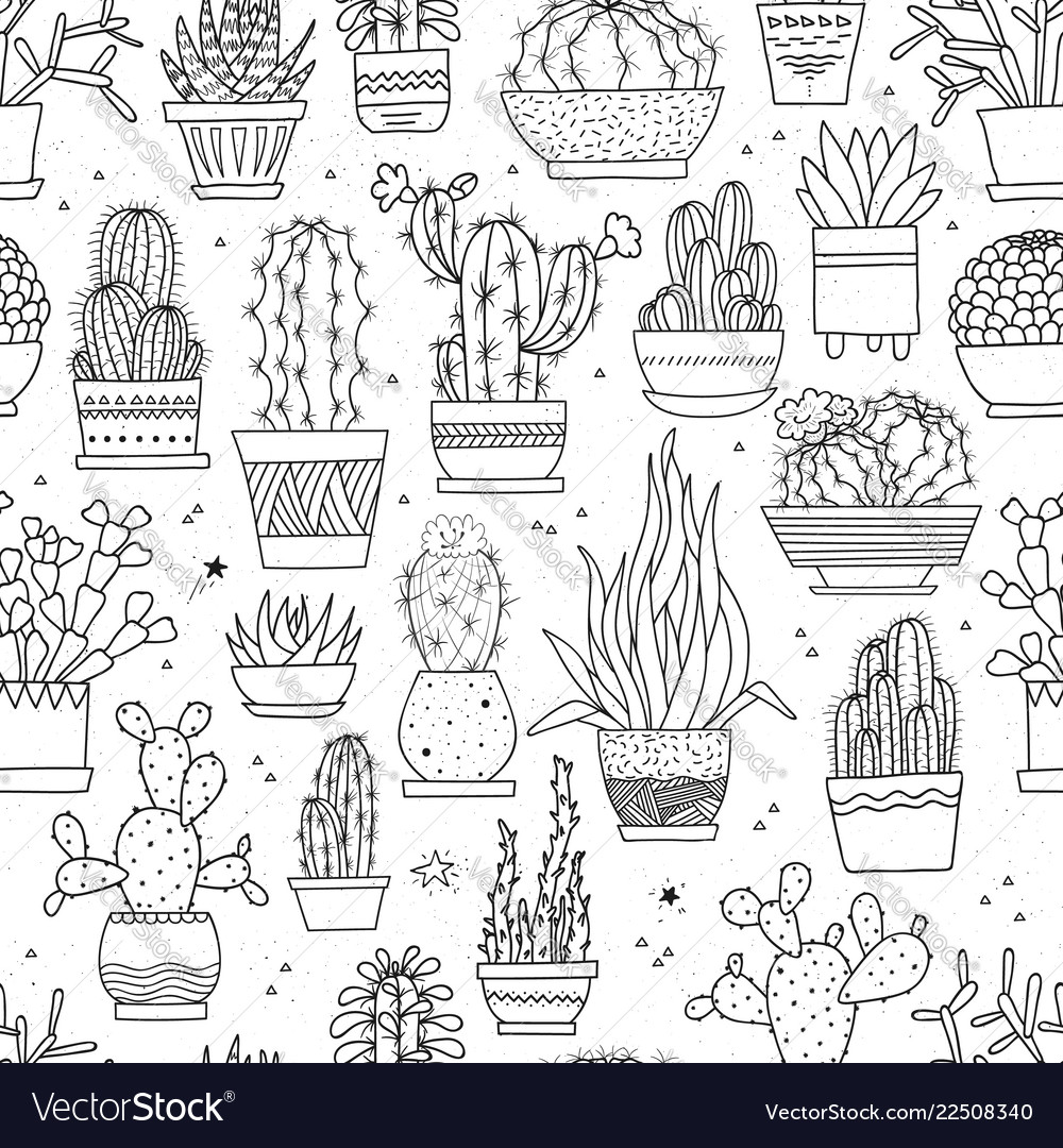 Seamless pattern with hand-drawn cacti and