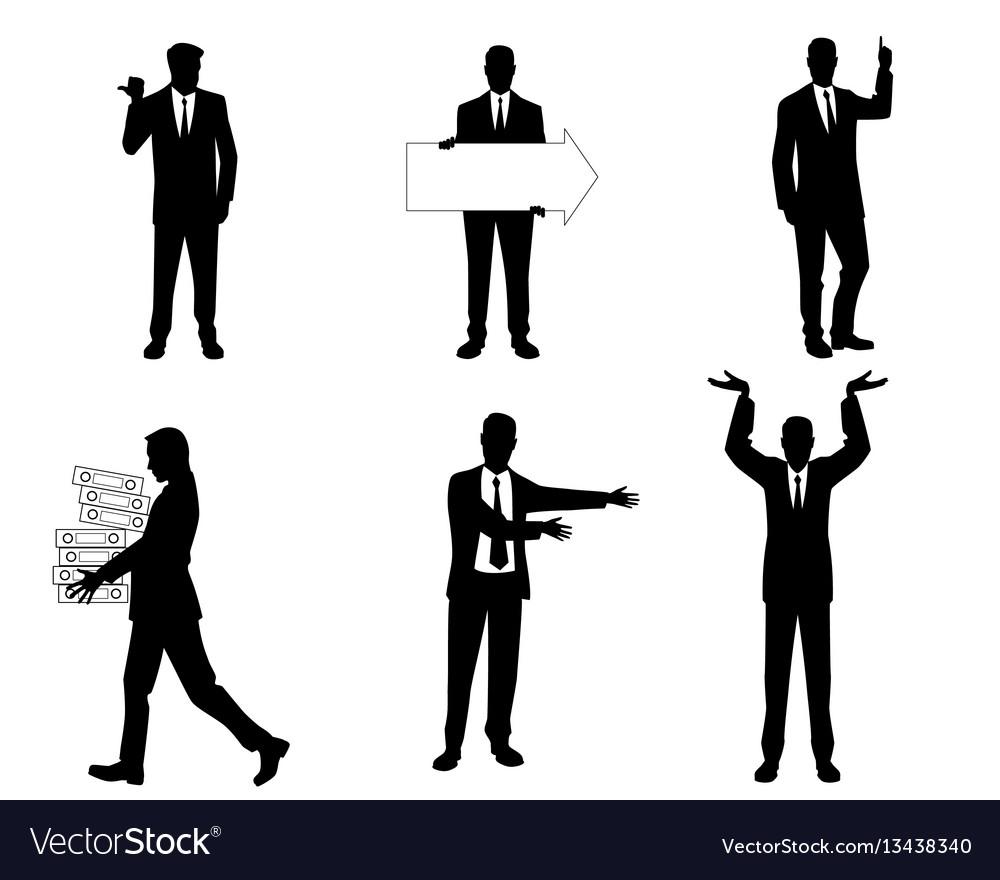 Six businessmen silhouette