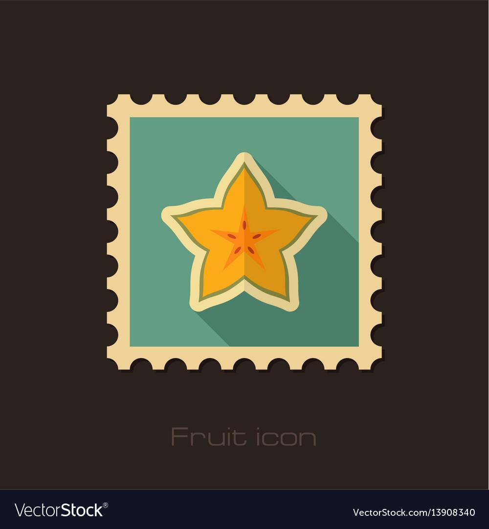 Starfruit carambola carom stamp tropical fruit vector image