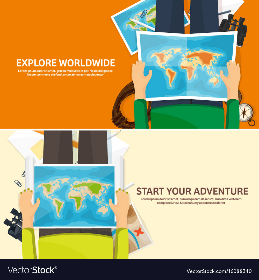 Travel and tourism flat style world earth map vector image gumiabroncs Choice Image