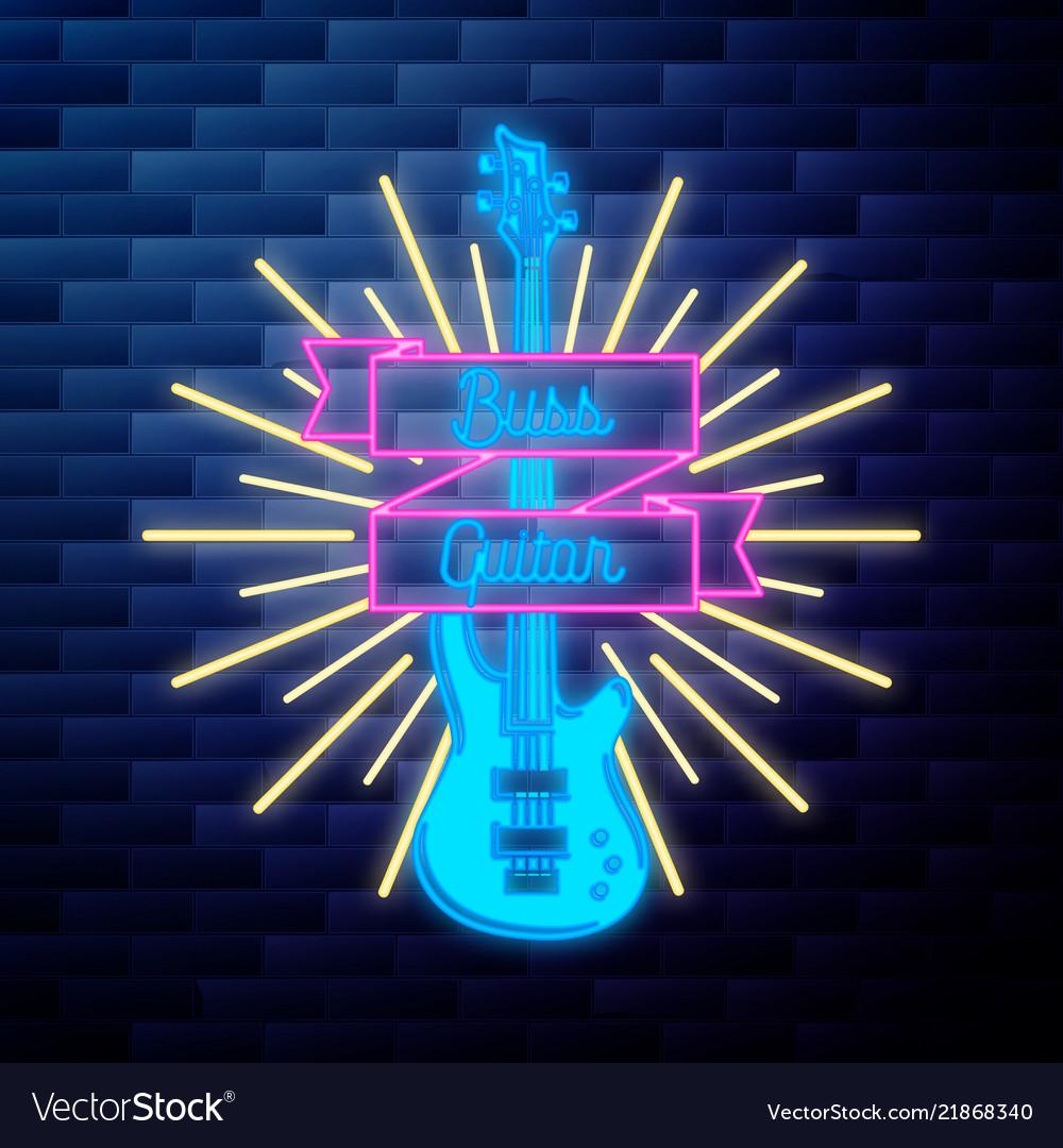 Vintage rock festival emblem glowing neon sign