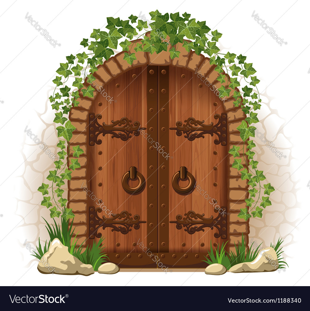 Wooden door with ivy