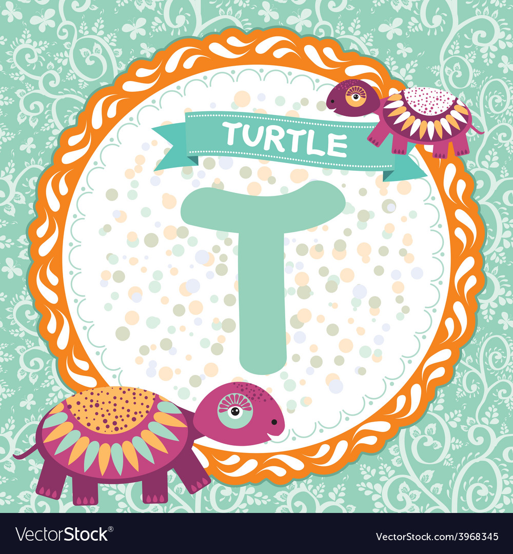 ABC animals T is turtle Childrens english alphabet
