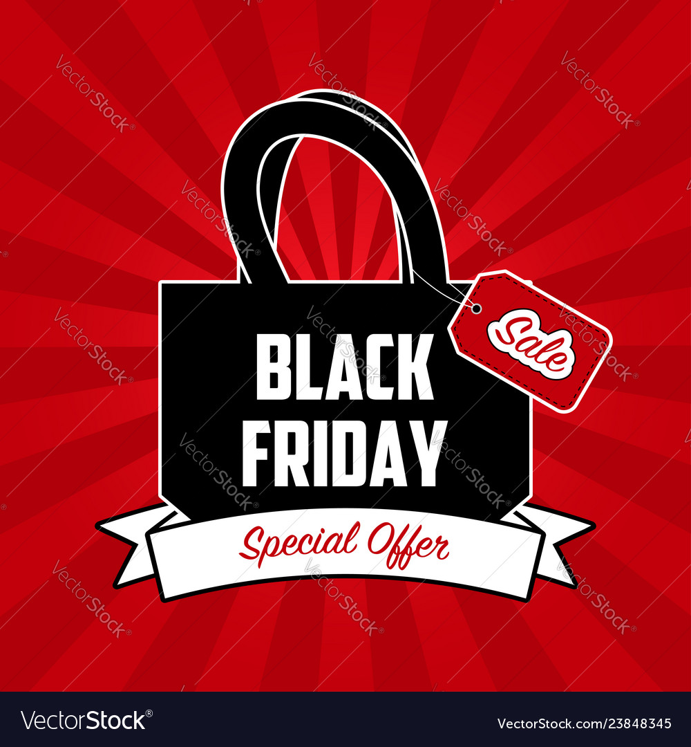 Black friday sale banner with shopping bag