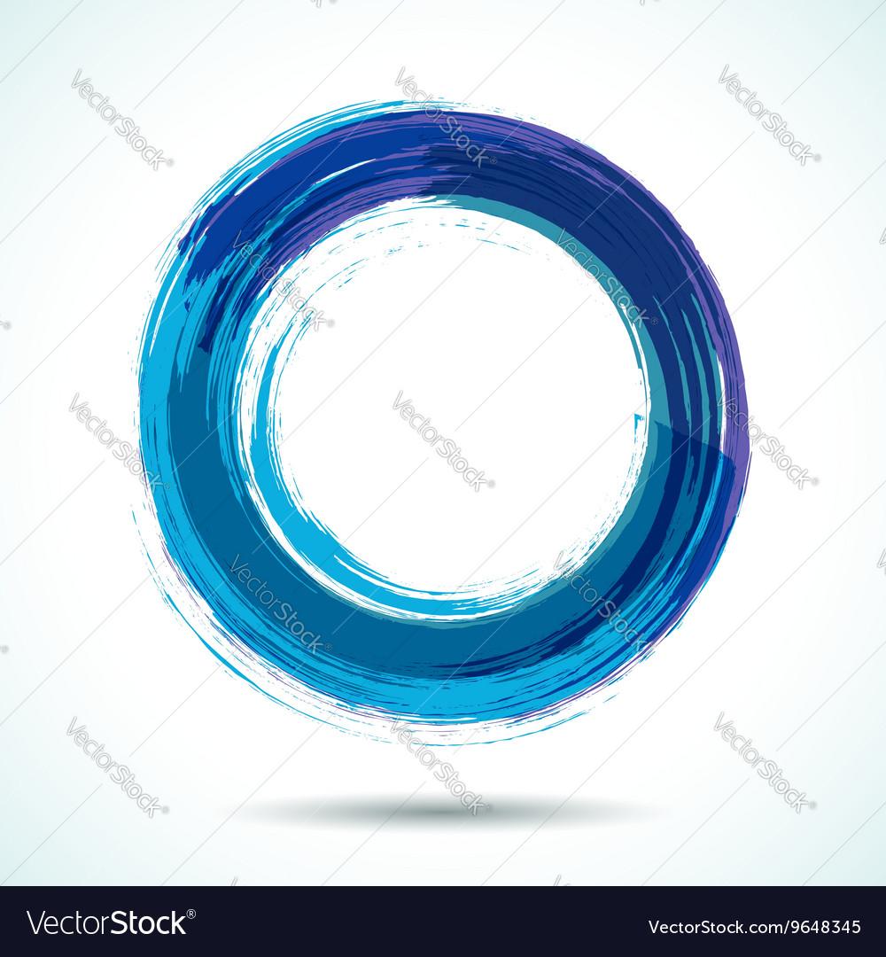 Blue brush painted watercolor circle