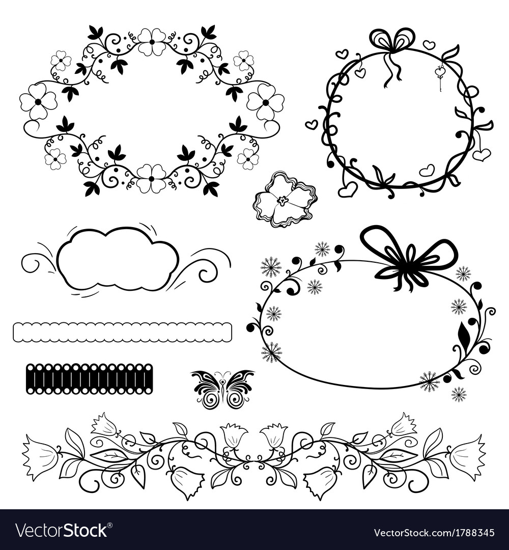 Calligraphic Design Elements And Vintage Frame Vector Image