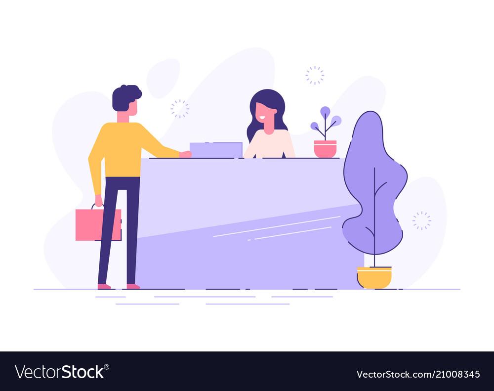 Customer at reception modern