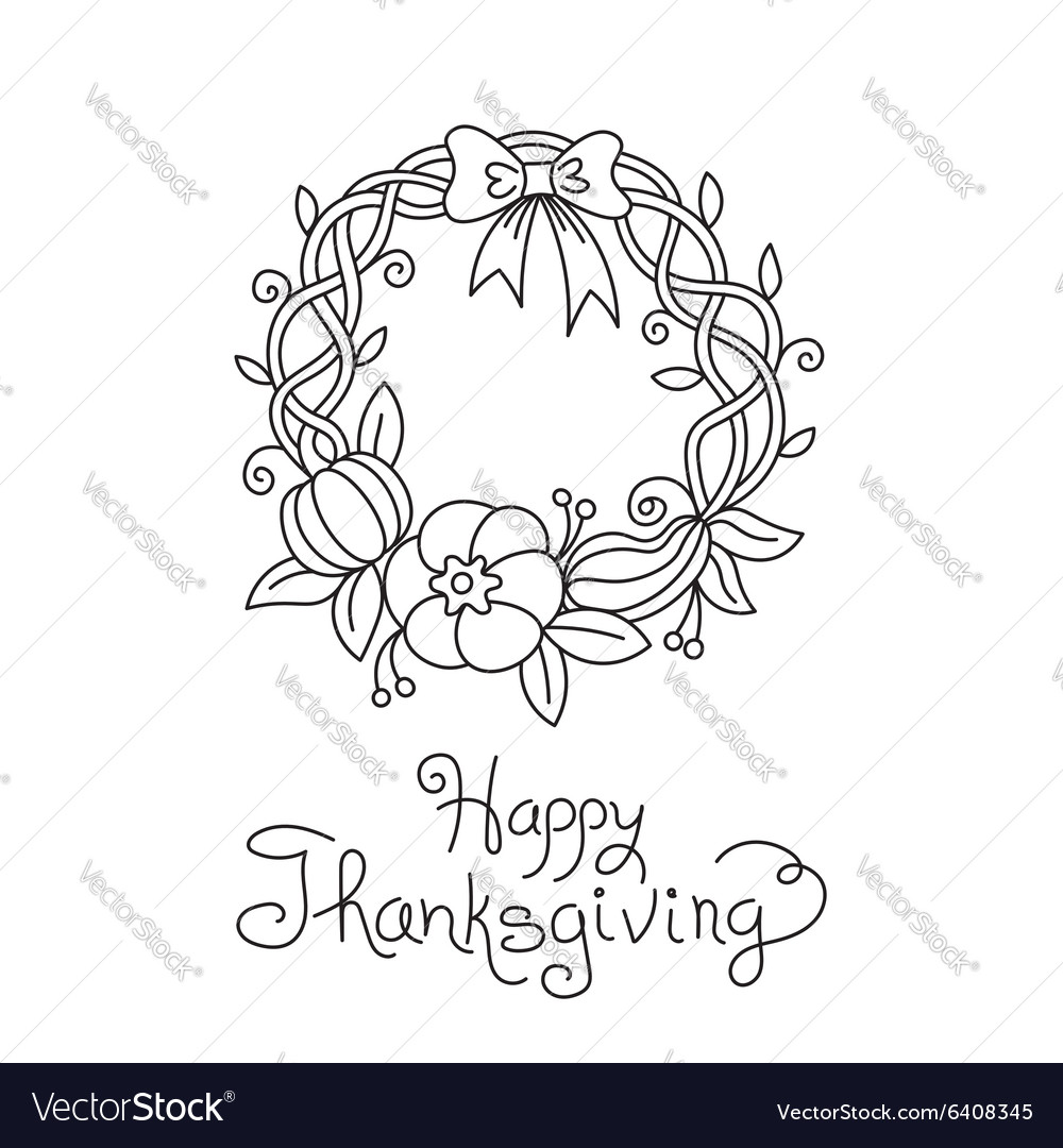 Doodle Thanksgiving Wreath Freehand Drawing
