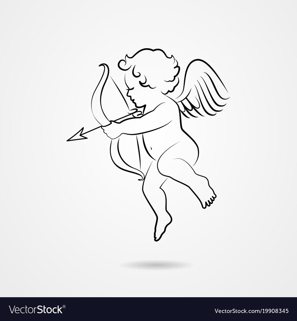 Hand drawn sketch cupid