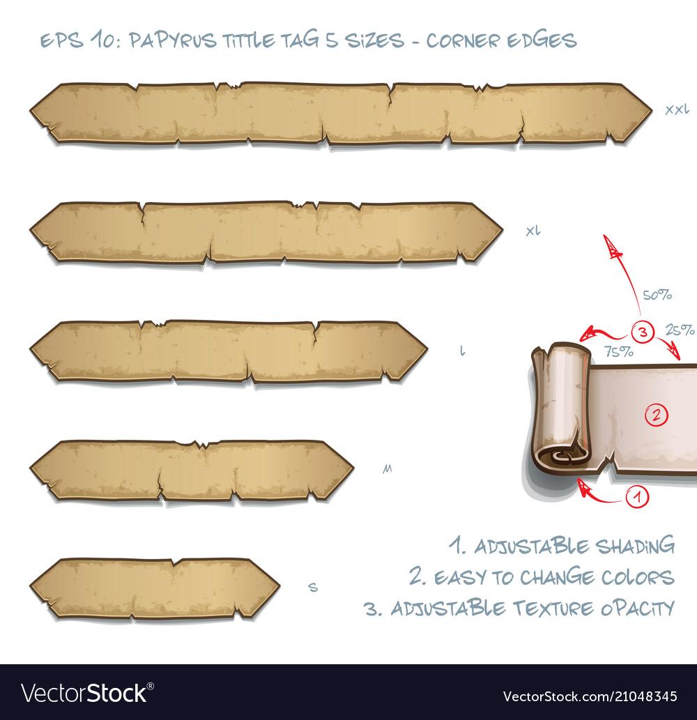 Papyrus tittle tag five sizes - corner edges