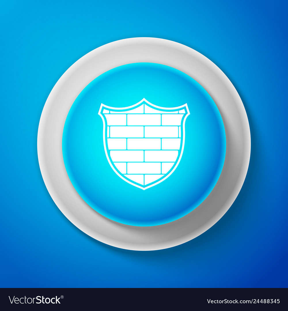Shield with cyber security brick wall icon