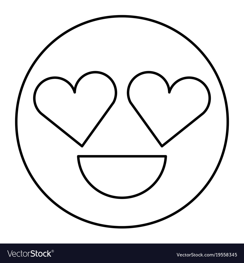 Smile emoticon heart shape eyes love Royalty Free Vector