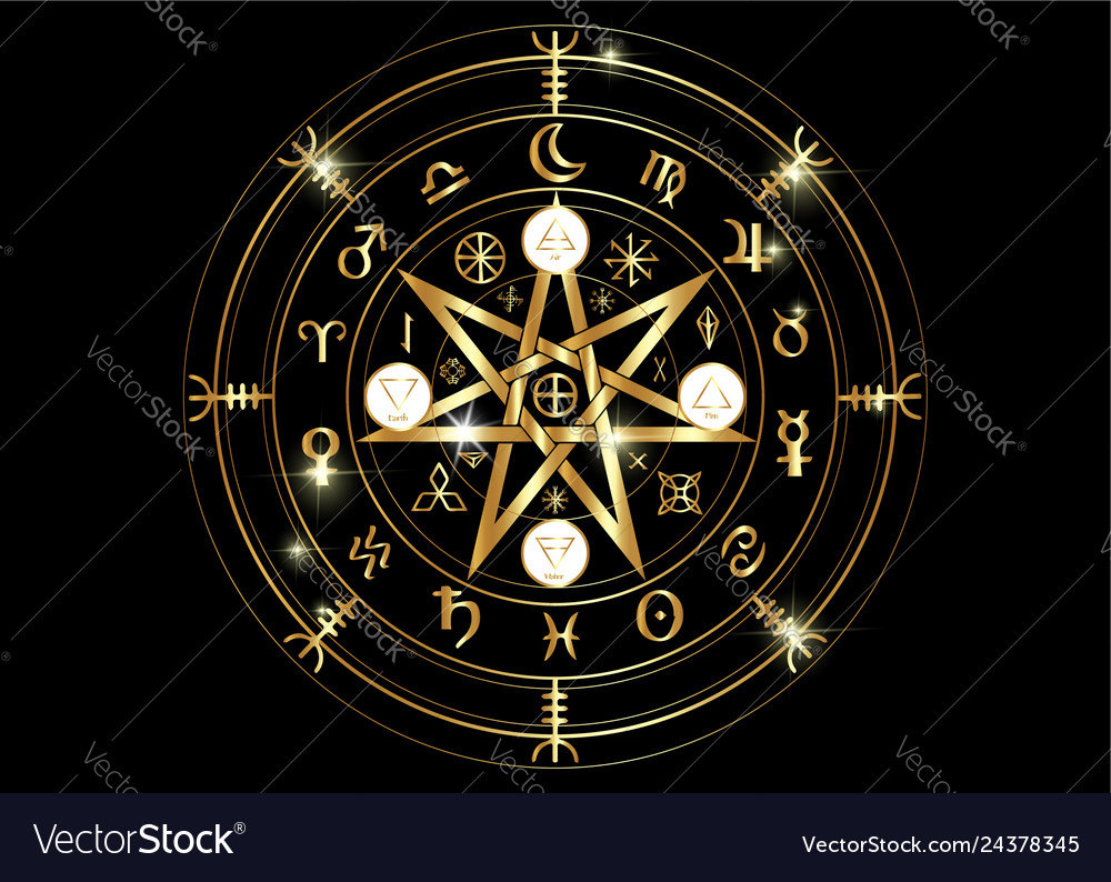 Wiccan symbol of protection gold mandala runes