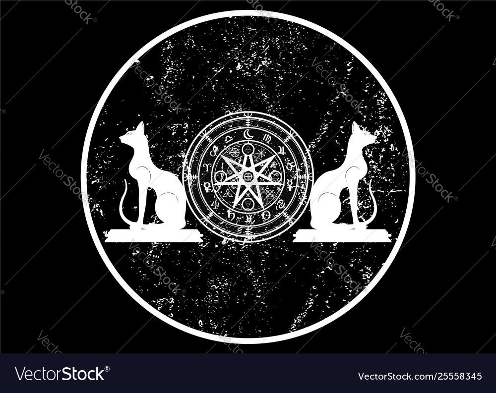 Wiccan symbol protection set mandala icon