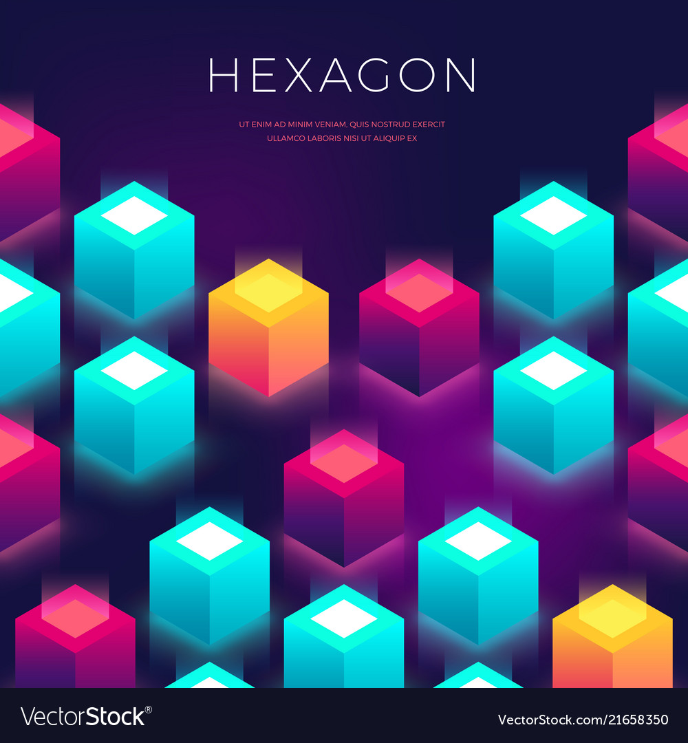 Abstract background with 3d shapes hexagon