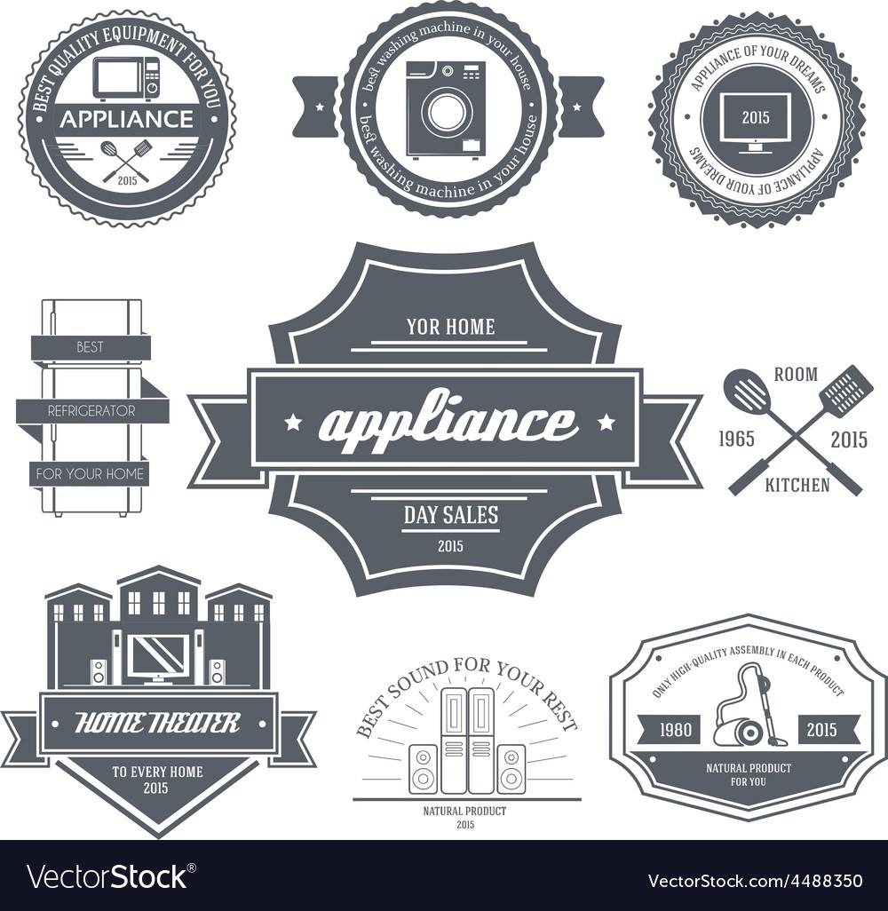 Appliances label template of emblem element for Vector Image