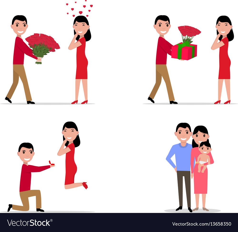 Cartoon stage set creating a happy family vector image