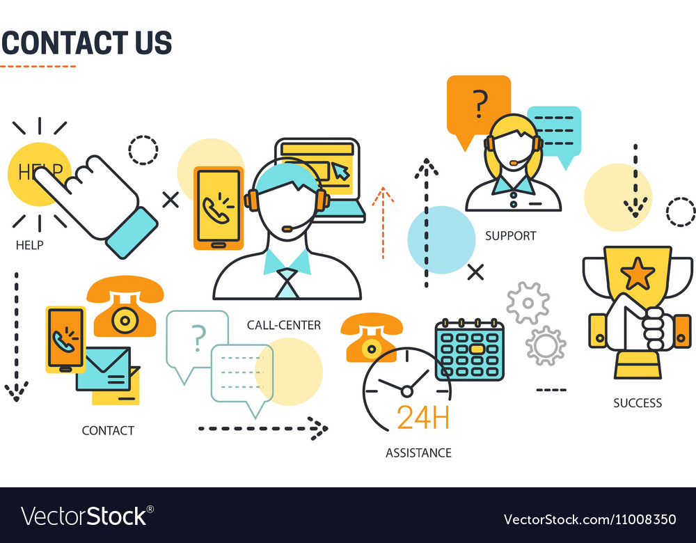 Contact Us Lines Composition vector image