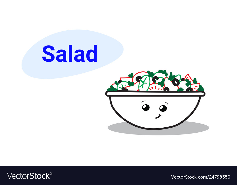 Cute vegetable salad bowl cartoon comic character
