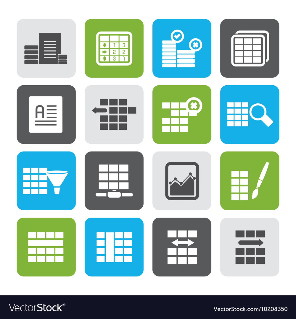 flat database and table formatting icons vector image